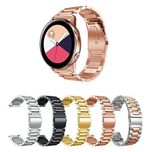 Pulseira Metal 3 Elos para Samsung Galaxy Watch Active 40mm e 44mm - Gear S2 Classic - Gear Sport R600 - Galaxy Watch 42mm - Amazfit Bip - Amazfit Gtr 42mm - Marca Ltimports (Rose Gold)