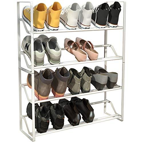 LXF Shop Organizador Zapatos Armario Mueble Zapatero Moderno Apilable Zapatero, Blanco 4 Niveles de Pie Organizadores de Zapatos, Metal Rectangular Soporte de Exhibición, Sostiene 12 Pares de Zapatos