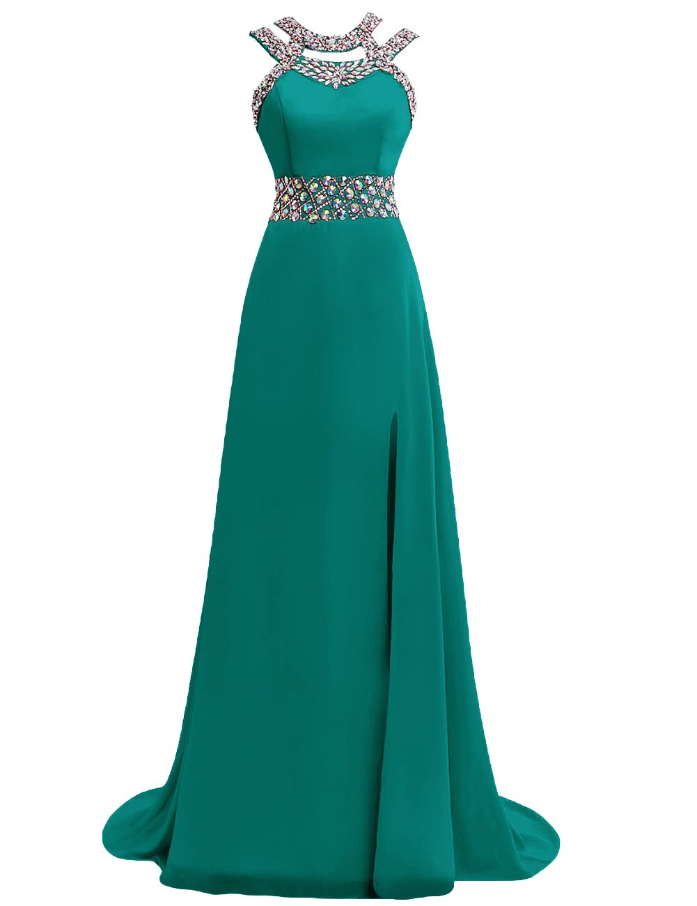 Available at Amazon: Prom Dress Halter Evening Gowns Formal Long Slit Chiffon Bridesmaid Dresses A line Open Back