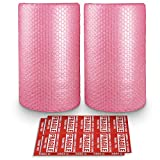 2-Pack Anti-Static Bubble Cushioning Wrap Rolls, 3/16' x 12' x 72' ft Total, Perforated Every 12', 20 Fragile Stickers for Packaging, Shipping, Mailing