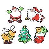 Cabilock 12Pcs / Pack Imán de Nevera de Navidad 3D Dibujos Animados Lindo Santa Claus Árbol de Navidad Reno Juguetes Magnéticos Imanes de Pizarra Blanca de Pvc de Goma Suave para Niños