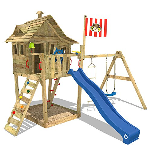 WICKEY Spielturm Monkey Island Kinder-Spielhaus Schaukel Sandkasten, blaue Rutsche + Wikinger Fahne