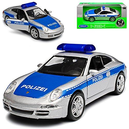 Welly Porsche 911 997 Carrera S Coupe Silber Blau Polizei 2004-2012 ca 1/43 1/36-1/46 Modell Auto mit individiuellem Wunschkennzeichen