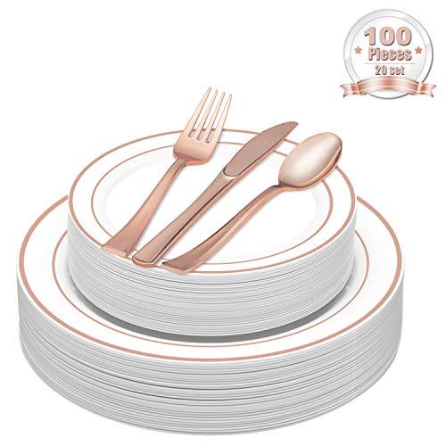 LOMOFI 100 Stück Elegante Premium Plastik Recycelbar teller - Beinhaltet 20 Speiseteller, 20 Salatteller, 20 Messer, 20 Gabel, 20 Löffel, Service 20 Menschen für Catering, Hochzeiten, Partys Rose Gold