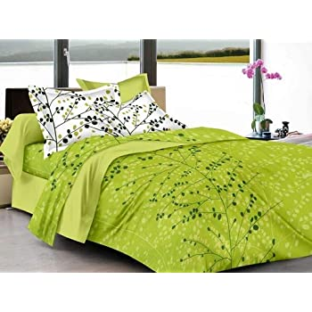 HUESLAND by Ahmedabad Cotton 144 TC Cotton King Bedsheet with 2 Pillow Covers - Beige and Green