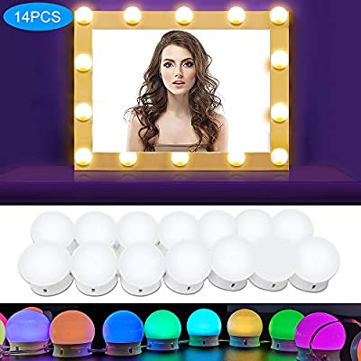 SICCOO Vanity Lights for Mirror, RGB Colorful DIY Hollywood Lighted Makeup Vanity Mirror Dimmable Lights, 14-Bulb, RGB (Mirror Not Include)