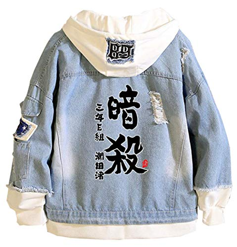 WANHONGYUE Anime Assassination Classroom Denim Jacket Chaqueta Vaquera Adulto Cosplay Jeans Hoodie Outwear...