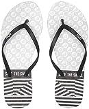 Roxy Women's Viva Stamp Flip Flop, Black/Silver, 7 Medium US
