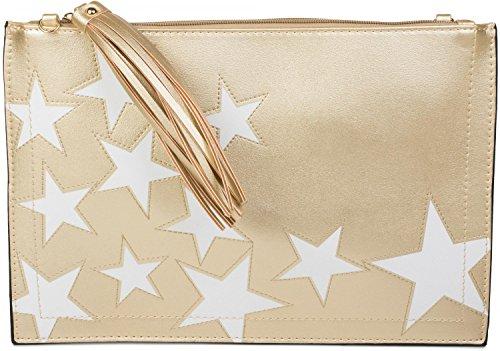 styleBREAKER Bolso de Mano Clutch con Motivo de Estrellas, borlas Colgantes en la Cremallera, Correa de Mano y Bandolera, señora 02012075, Color:Dorado