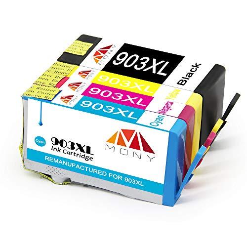 Mony HP 903 XL 903XL - Cartuchos de tinta con chip para impresora HP OfficeJet Pro 6950, 6960 y 6970 (1 negro, 1 azul, 1 magenta y 1 amarillo)
