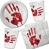 Set di 40pezzi per Halloween 'mano insanguinata' Con piatti di carta + tovaglioli + bicchieri di carta//Stoviglie usa e getta, per bambini, per compleanno, feste a tema horror