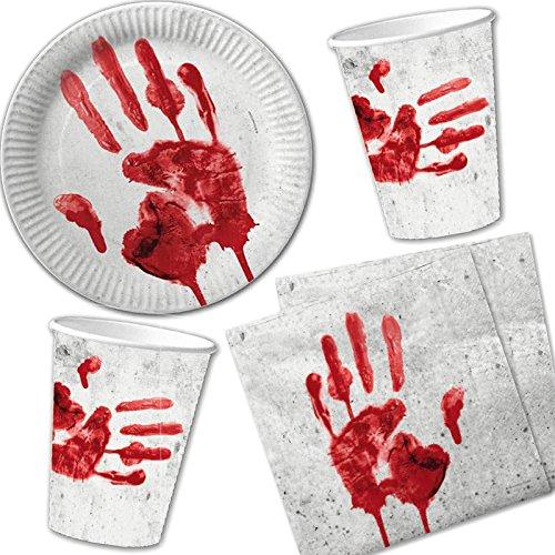 40-teiliges Halloween-Set * BLUTIGE HAND * mit Pappteller + Servietten + Pappbecher + Deko // Teller Becher Essen Pappe Geschirr Party Dekoration Mottoparty Horror