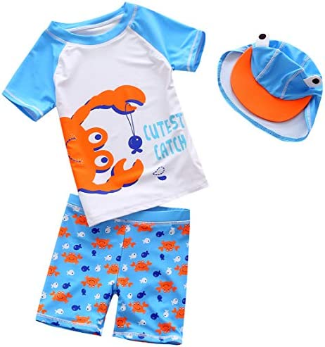 Baby Toddler Boys Two Pieces Swimsuit Sunsuits Swimwear Sets Crab Bathing Suit Rash Guards with product image