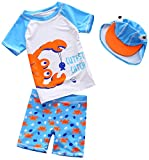 Baby Toddler Boys Two Pieces Swimsuit Sunsuits Swimwear Sets Crab Bathing Suit Rash Guards with Hat UPF 50+(Clever Crab,9-18 Months)