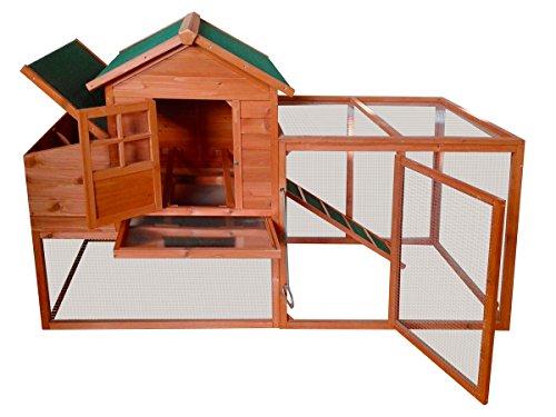 BRAST Hühnerstall 198,5x79x120cm Geflügel-Stall Hasen-Stall Kaninchen-Stall Kleintier Käfig Freilauf Legenest XXL