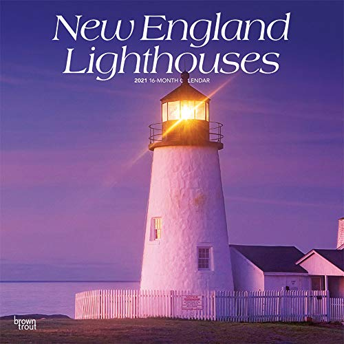 New England Lighthouses 2021 12 x 12 Inch Monthly Square Wall Calendar, USA United States of America East Coast Scenic Nature