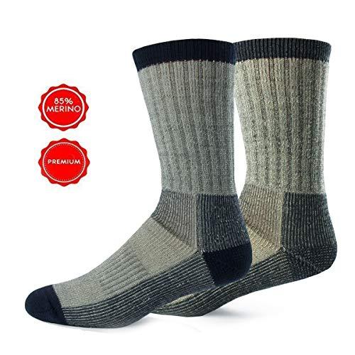 Alpin Loacker Wandersocken aus Bio Merinowolle | Trekking Socken Damen und Herren | Keine Blasen + weniger Schweiß durch Merino | Large 42-45 grau