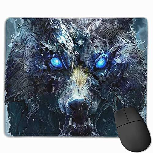 Blue Eyes Cool Wolf Schilderkunst Gepersonaliseerd Ontwerp Muis Pad Gaming Muis Pad met gestikte randen Mousepads, Antislip Rubber Base, 9.8x12 Inch, 3mm Dikke - Beste Gift Idee
