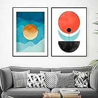 スカンジナビアのポスターとプリント鉢植えの太陽の山キャンバス絵画リビングルームの家の装飾のための抽象的な壁の写真70x90cmx2フレームレス
