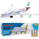 Toysery Airplane Toys for Kids, Bump and Go Action, Toddler Toy Plane with LED Flashing Lights and Sounds for Boys & Girls 3 -12 Years Old (Airbus A380)