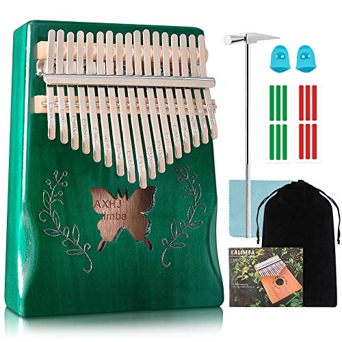 AXHJ Kalimba 17 Keys Thumb Piano Butterfly Include Tuning Hammer and Study Instruction Portable Mbira Finger Piano Unique Gift for Kids Adult Beginners Professionals (Green)
