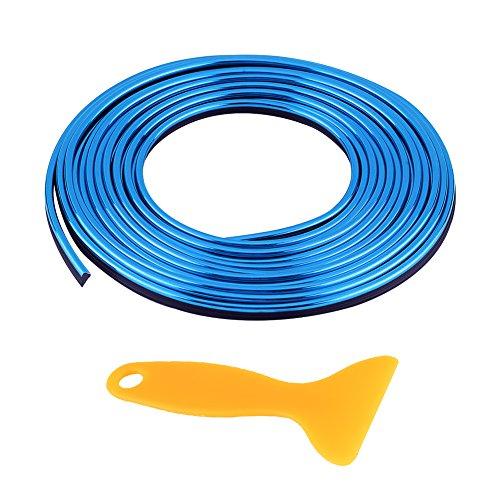 Interior del coche Decoración Línea de moldura Línea de molduras, Tiras Adhesivas Retrofit Tira flexible decorativa, 5M 16.4 pies DIY(Azul)
