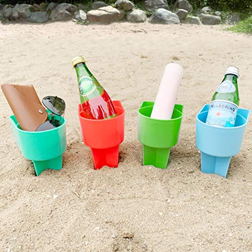 Home Queen Beach Cup Holder with Pocket, Multi-Functional Sand Cup Holder for Beverage Phone Sunglasses Key, Beach Accessory Drink Sand Coaster, Set of 4 (Blue, Teal, Orange and Green)