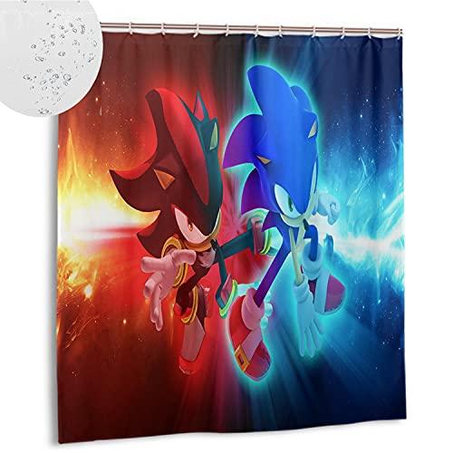 DRAGON VINES Cortina de ducha 72x72 pulgadas (183x183 cm) impermeable tela pesada cortina de ducha Sonic The Erizo Shadow (B00574