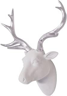 Deer Head Wall Art White Fake Furry/Felt/Velvety Deer Head With Silver Antlers Wall Decor Size 10