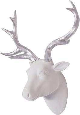 "Deer Head Wall Art White Fake Furry/Felt/Velvety Deer Head With Silver Antlers Wall Decor Size 10"" x 12"" x 5.5"" by Smarten Arts"