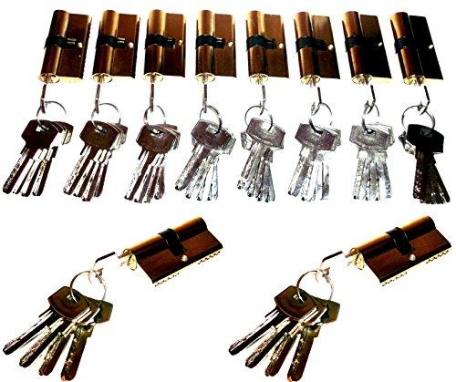 10 er Sicherheits Schließzylinder Tür Schloß Set + 50 Schlüßel Gleichschließend