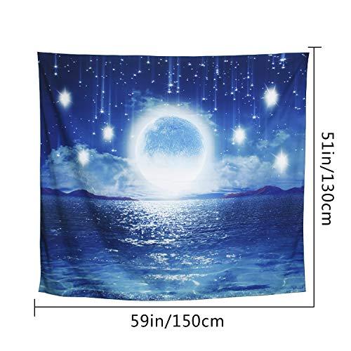 ARFBEAR Starry Ocean Tapestry, Night Sky Moon Star Light Shining Popular Wall Hanging Tapestry Pure Blue Beach Blanket (medium-59 x 51 in)