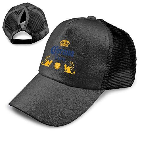 GGdjst Corona Extra Bier Pailletten Pferdeschwanz Baseball Cap High Bun Glitter mit Mesh Trucker Hut verstellbar schwarz
