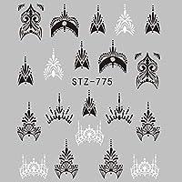 HDSHD ラップ紙箔ヒントタトゥーマニキュアを塗っネイルパターンの1シートジュエリー花の水デカールブラックステッカー (色 : STZ775)