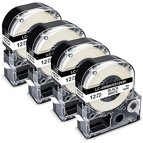 Pristar Compatible Label Tape Replacement for Epson LC-4WBN LK-4WBN SS12KW 12mm 1/2 Inch Refill Label Tape Cartridges for Epson LabelWorks LW300 LW400 LW600P LW700 Label Maker, Black on White, 4 Pack