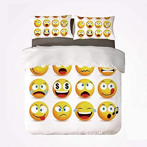 Set copripiumino Emoji Warm 3 set biancheria da letto, collezione Faccine con forme circolari con varie emozioni Cantando arrabbiato per la stanza