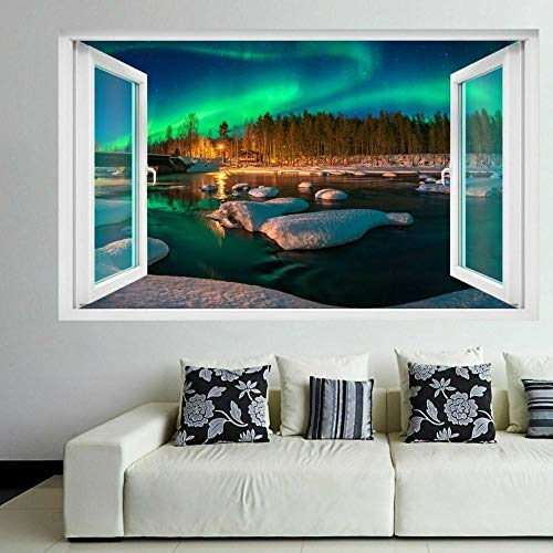 3D Wall Tattoo Wall Sticker Breakthrough Northern Lights Nature View Wall Decor Boys and Girls Bedroom Sticker Wallpaper Decals 12x20inch(30x50cm)