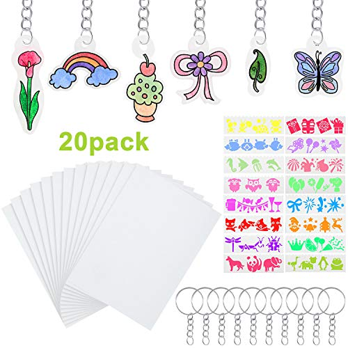 Outus Heat Shrink Plastic Sheet Kit, 20 Sheets Clear Shrink Film, 16 Sheets Shrinky Art Paper with Multi Pattern, 20 Pieces Keychains for Shrinkable DIY Craft