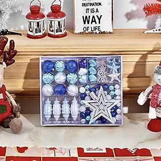 MAISITOO Bolas de Navidad Juego 73 Piezas Azul y Plata Bolas De Arbol De Navidad Plástico con Copa de árbol Adornos Bola d...
