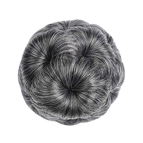 LovePlz Faux Synthétique Cheveux Bun Extension Élastique Ondulé De Mariée Beignet Chignon Postiche Perruques De Cheveux pour Les Femmes pour La Maison en Plein Air Cheveux Accessoires Grand-mère Grey