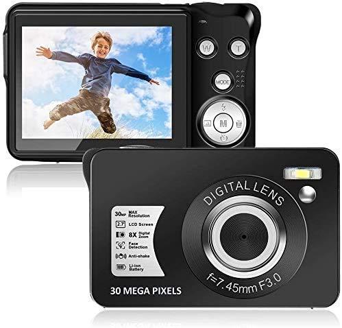 Appareil Photo numérique 30MP 1080P Mini caméra Caméra Vidéo 8X Zoom Numérique Caméra 2,7 Pouces TFT LCD Compact Camera Vlogging Camera Compact et Portable Self