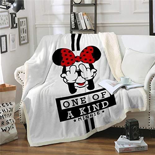YKOUT 150X200Cm Decke Minnie Mickey Mouse, Weiche Warme Winter Sherpa Fleece Decke Decke Tagesdecke Bettbezug Für Kinder Erwachsene Sofa Auto