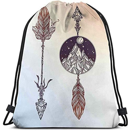 Lemotop Rucksäcke Taschen, Boho-Elemente der amerikanischen Ureinwohner mit Feder und ROC-ky Bergpfeil Ethnisches Design, Verstellbarer Schnurverschluss