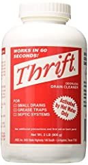 This product is highly durable This product adds a great value This product is manufactured in United states THRIFT works on drains, sewer lines, grease traps, and septic systems. THRIFT will clean out a drain line in less than 60 seconds! THRIFT is ...