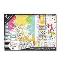 me & my BIG ideas ハッピープランナーボックスキット - Live A Happy Colorful Life Theme12ヶ月日付なし - マンスリーレイアウト - ステッカー552枚、ブックマーク1枚、付箋パッド3枚、仕切り 12枚 - クラシックサイズ