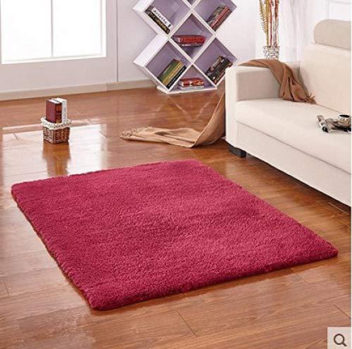 YUANCJ Home Wohnzimmer Teppich,Langes Haar Verdickung Teppich Lamm Samt Nachahmung Mähne Antarktis Samt Teppich Wohnzimmer Tür Couchtisch wasserabsorbierende Anti-Rutsch-Tür weinrot, 120 × 160 cm