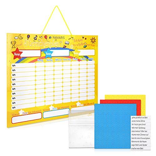 Navaris Tabla de recompensa para niños - Pizarra para recompensar Buen Comportamiento tareas Hechas y Aprender alemán - Magnética con 250 imanes