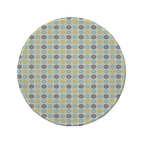 """Rutschfreies Gummi-Rundmaus-Pad marokkanisch symmetrisches Muster mit Henna-Kunstmotiven Frische Farben Retro Folkloric Decorative Hellblau-Gelb-Schwarz 7.9\""""x7.9\""""x3MM"""