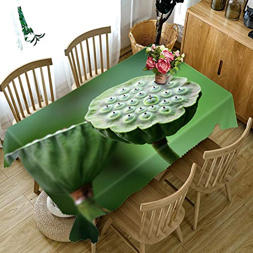 Rubyia Mantel rectangular para mesa de comedor, diseño de semillas de loto, poliéster, 152 x 228 cm, color verde