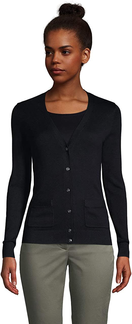 Lands' End Women's Cotton Modal V-Neck Cardigan Sweater